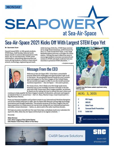 Seapower at Sea-Air-Space 2021 Monday cover